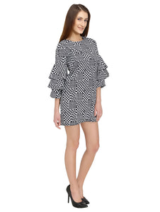 Geometric Printed Bell Sleeves Dress