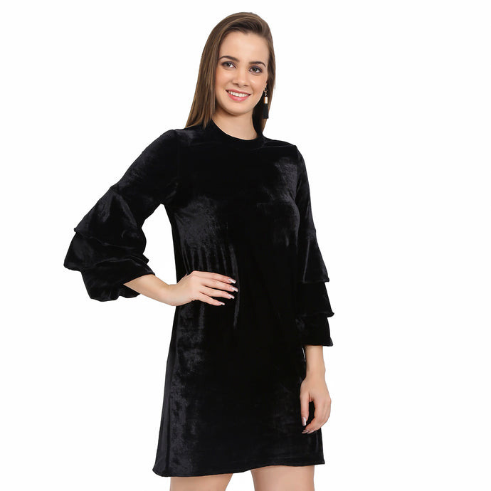 Black Velvet Bell Sleeves Dress