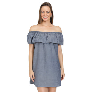 Grey Denim Off Shoulder Dress