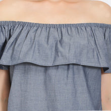 Load image into Gallery viewer, Grey Denim Off Shoulder Dress