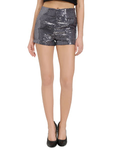 Grey Sequins Shorts