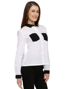 White Cotton Shirt With Black Pockets