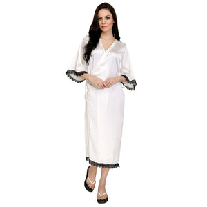 White Satin and Lace Robe