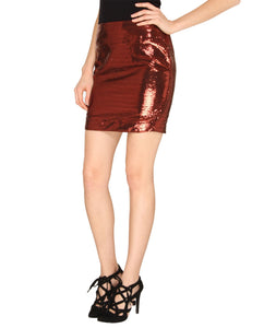 Maroon Sequin Fitted Skirt