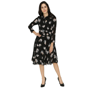Floral Georgette Collared Dress