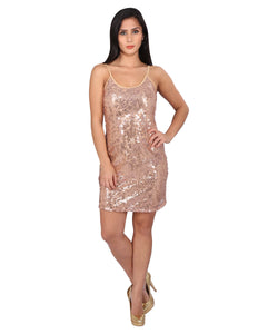 Sequin Body Fit Spaghetti Strap Dress