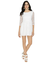 Load image into Gallery viewer, White Lace Short Gathered Dress