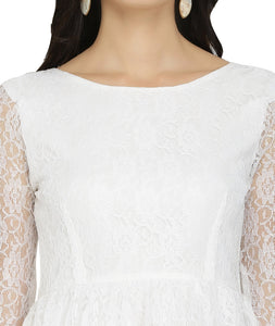 White Lace Short Gathered Dress