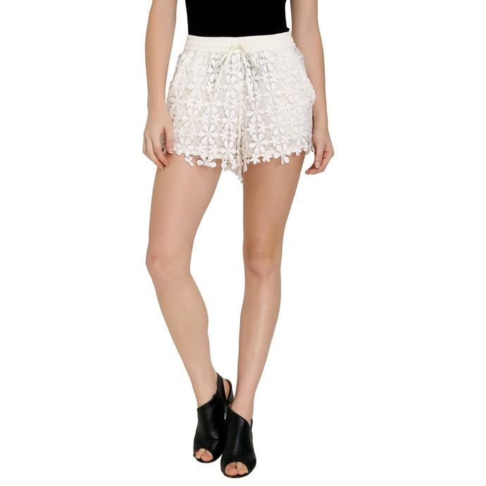 Off White Floral Lace Shorts