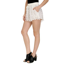 Load image into Gallery viewer, Off White Floral Lace Shorts