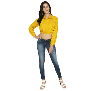 Yellow With White Polka Dots Crop Top