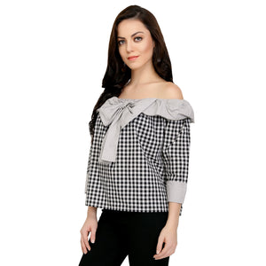 Grey Cotton Cheecks Bardot Top
