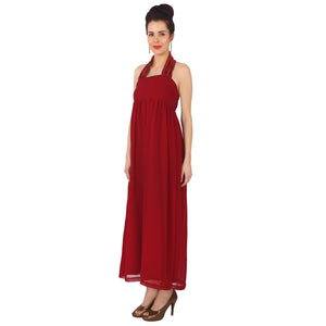 Maroon Gown With Satin Neck Strap