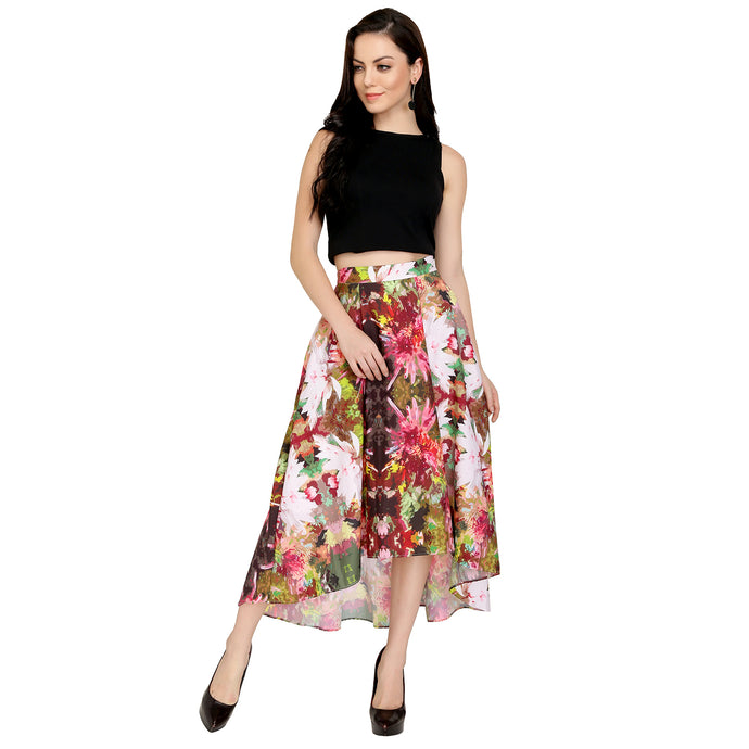Asymmetric Floral Printed Skirt