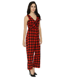 Checks Frilled Jumpsuit