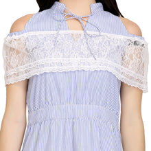 Load image into Gallery viewer, Lace And Cotton Cold Shoulder Dress