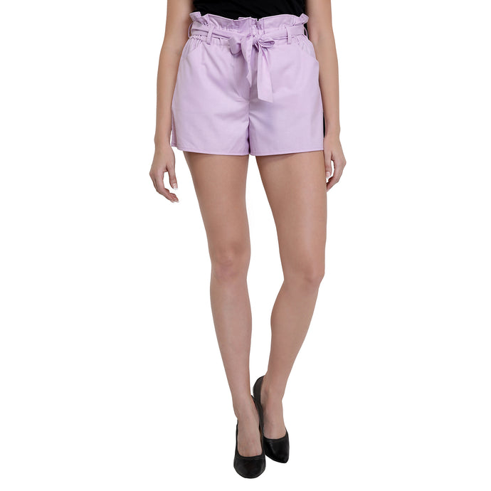Lavender Frilled Cotton Shorts