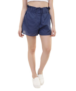 Frilled Blue Linen Shorts