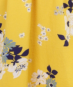 Yellow Floral Midi Summer Dress