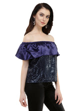 Load image into Gallery viewer, Blackcurrant Bling Bardot Top