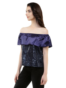 Blackcurrant Bling Bardot Top
