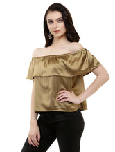 Load image into Gallery viewer, Golden Satin Bardot Top