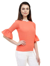 Load image into Gallery viewer, Orange Bell Top With Lace Collar