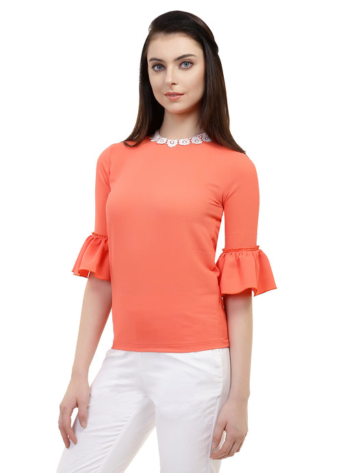 Orange Bell Top With Lace Collar