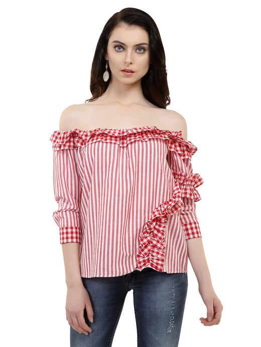 Red Ruffled Candy Top
