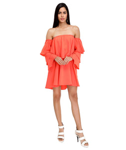 Coral Layered Bardot Dress