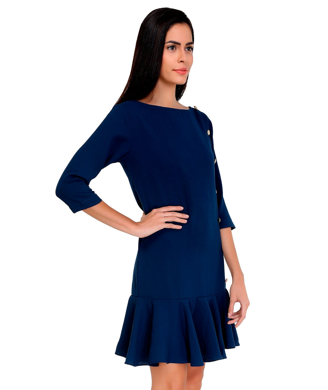 Midnight Blue Frilled Dress
