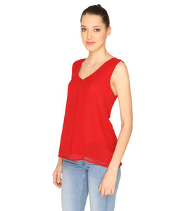 Red Sheer Flapped Top