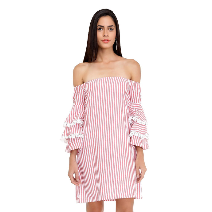 Candy Bardot Dress with Statement Sleeves