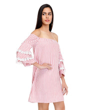 Load image into Gallery viewer, Candy Bardot Dress with Statement Sleeves