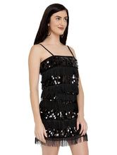 Load image into Gallery viewer, Tassel and Sequins Black Dress