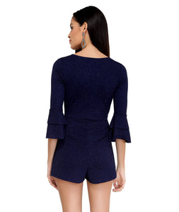 Midnight Blue Shimmer Wrap Playsuit