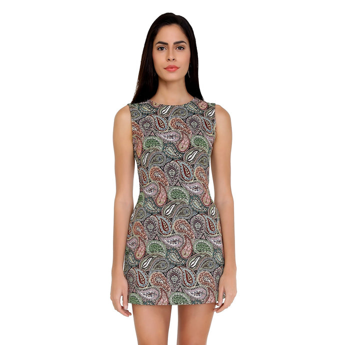 Paisley Jacquard Bodycon Dress