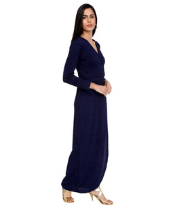 Midnight Blue Shimmer Wrap Dress