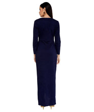 Load image into Gallery viewer, Midnight Blue Shimmer Wrap Dress
