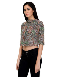 Paisley Printed Cropped Jacket