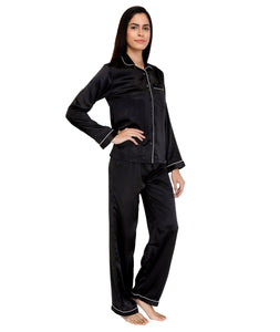Black Satin Nightsuit Set