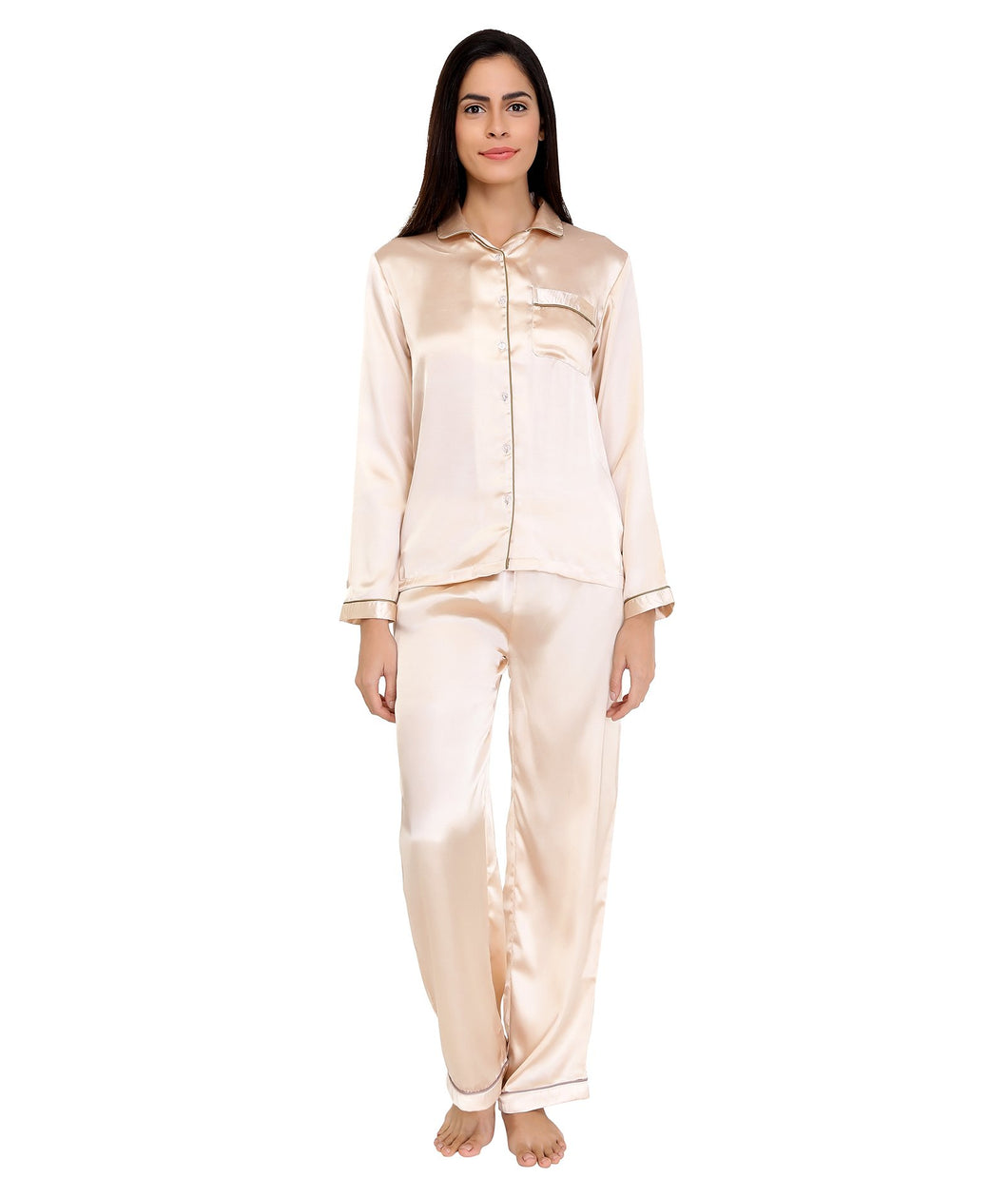 Champagne Satin Nightsuit Set