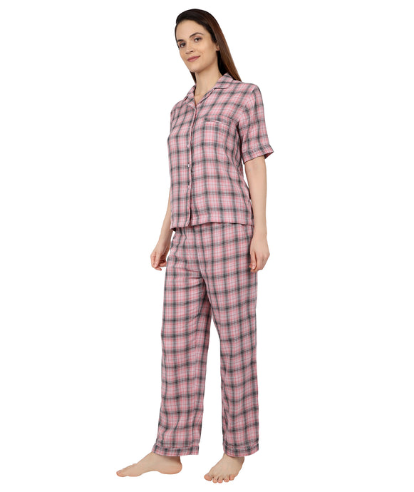 Pink & Grey Cotton Nightsuit Set