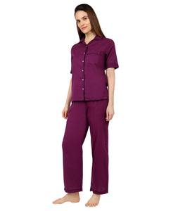 Deep Wine Cotton Nightsuit Set
