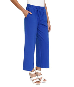 Bright Blue Knit Flared Pants