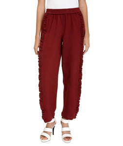 Maroon Knitted Frilled Pants