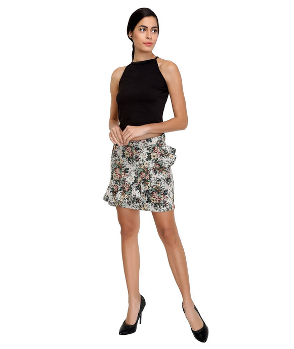 Floral Diagnol Frilled Skirt