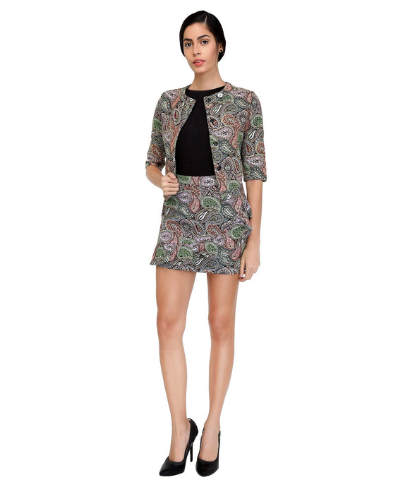 Paisley Diagnol Friled Skirt