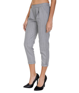 Grey Striped Cigarette Cropped Pants