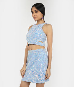 Frozen Sequins Cut Crop Top